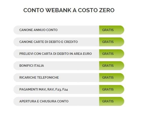 conto webank costo zero